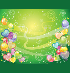 background with balloons green vector image