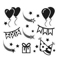 Birthday party icons mono symbols vector