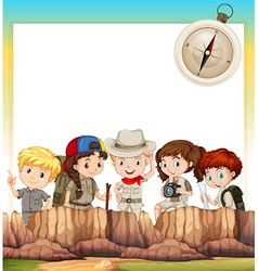 Border design with children camping out vector