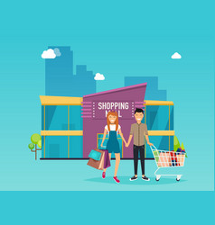 Boy and girl do shopping shopping mall building vector