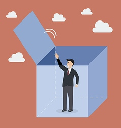 Businessman try to get out of the box vector image
