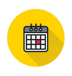 calendaricon on round background vector image