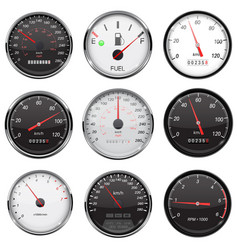 Car dashboard gauges with metal frame collection vector