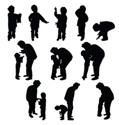 Child silhouette with grandmother vector