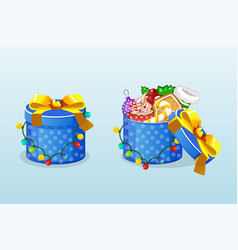 christmas blue boxes with candy and garland vector image