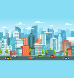 cityscape with cars city street with road town vector image