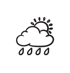 cloud with rain and sun sketch icon vector image
