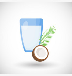 Coconut milk flat icon vector