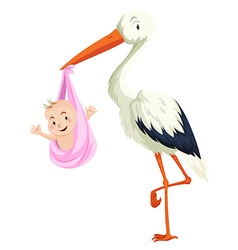 Crane delivering baby girl vector