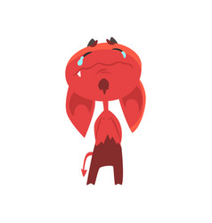 crying cartoon devil with big drooping ears horns vector image