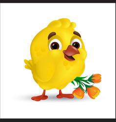 Cute and sweet happy easter baby chick vector