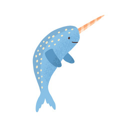 cute narwhal with horn childish marine animal in vector image