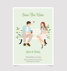 cute young wedding couple purpose in morning vector image