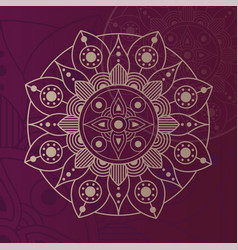 Decorative floral mandala with purple background vector