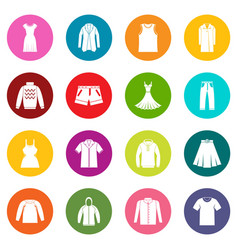 Different clothes icons many colors set vector