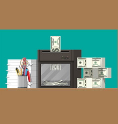 Dollar banknote in shredder machine vector