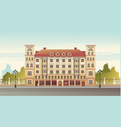 Exterior facade a country multistory hotel vector