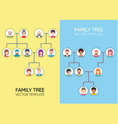 Family tree design templates with avatar icons vector