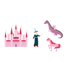 fantastic kingdom or fairytale images set vector image