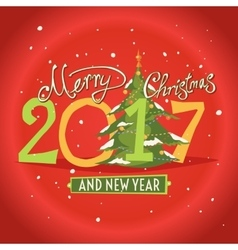 Figures 2017 and the words Merry Christmas vector