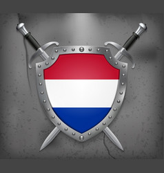 Flag of netherlands the shield with national vector