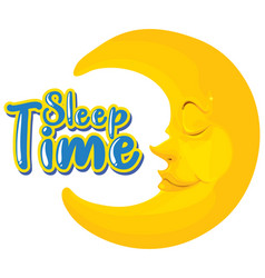 Font design for word sleep time with happy moon vector