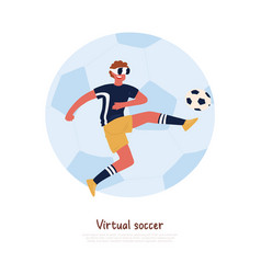 Footballer wearing virtual reality headset vector