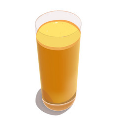 Glass with freshly squeezed orange juice on a vector