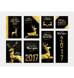 Gold deer greeting card template set for christmas vector