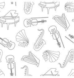 hand drawn musical instruments seamless pattern vector image