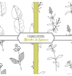 Hand drawn seamless patterns collection with vector image