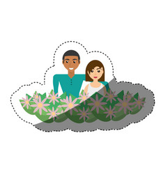 Happy couple with decorative flowers romantic vector