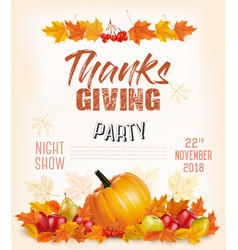happy thanksgiving flyer with colorful leaves and vector image