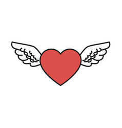 heart wings love romantic design vector image