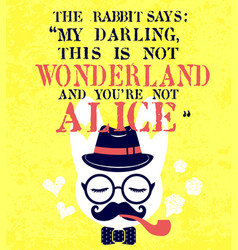 Hipster white rabbit smoking pipe vector