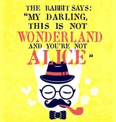 hipster white rabbit smoking pipe vector image