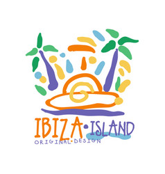 ibiza island logo template original design exotic vector image