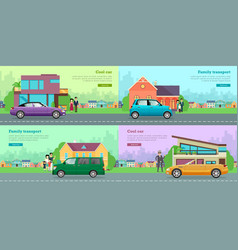 Icons with vehicles cool car family transport vector