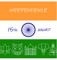 India independence day concept banner in line vector