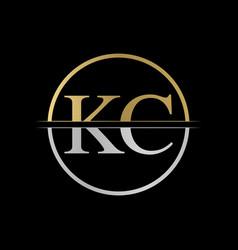 initial kc letter logo design abstract letter kc vector image