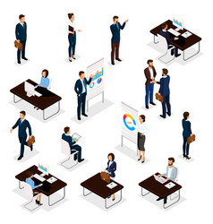 isometric set business conception vector image