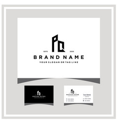 Letter pq building logo design and business card vector