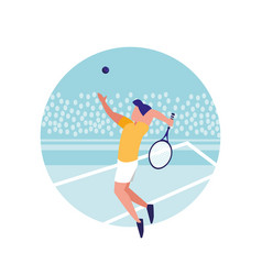 man practicing tennis avatar character vector image