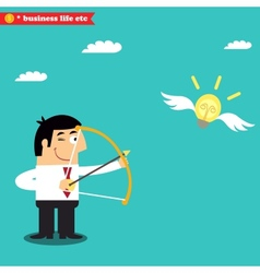 Manager targets lightbulb to get a business idea vector image