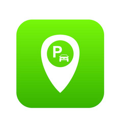 map pointer with car parking icon digital green vector image