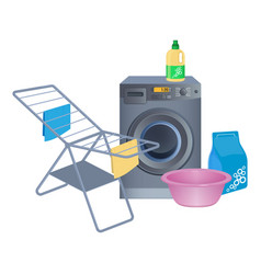 metal clothes drying rack washing machine vector image