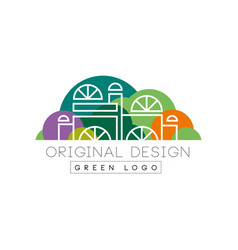 modern logo design with city mall in line style vector image