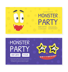 monster party invitation card templates set vector image