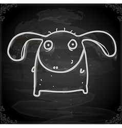Monster with Floppy Ears Drawing on Chalk Board vector image