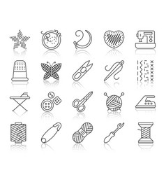 Needlework simple black line icons set vector